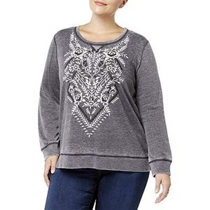 Style & Co. Printed Top Grey Size XL